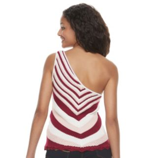 Juniors' Candie's® Chevron One Shoulder Sweater Tank
