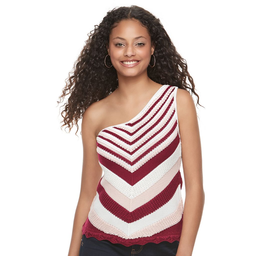 Juniors' Candie's® Chevron One Shoulder Sweater Tank