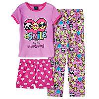 Girls 4-16 Jellifish Graphic Tee, Pants & Shorts Pajama Set