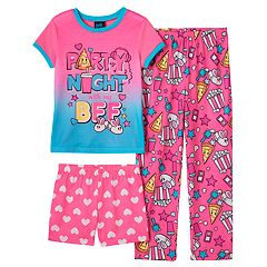 Girls 4-16 Jellifish Graphic Tee, Pants & Shorts Pajama Set