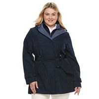 Plus Size Braetan Hooded Shawl Collar Rain Jacket