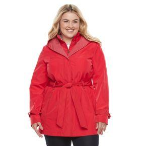 Plus Size Braetan Hooded Shawl Collar Rain Jacket