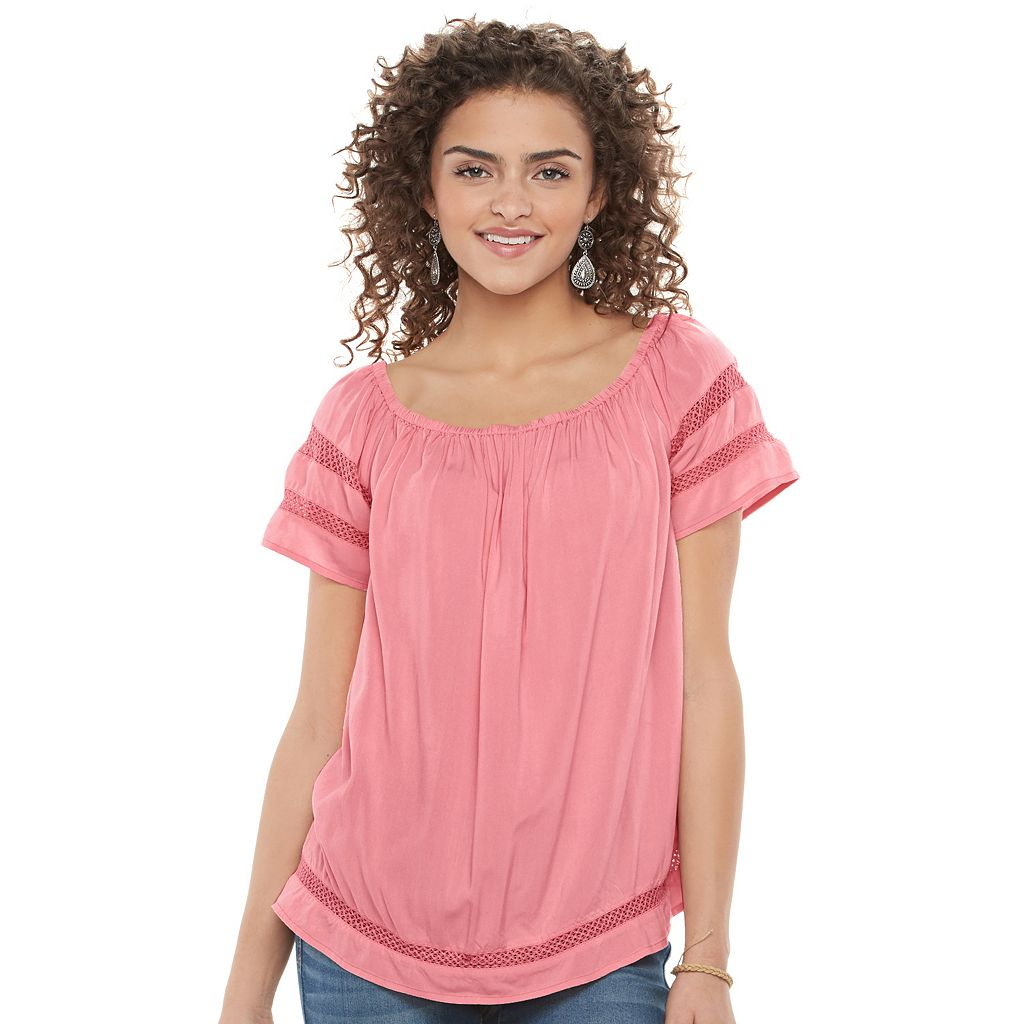 Juniors' SO® Short Sleeve Off Shoulder Top