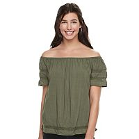 Juniors' SO® Short Sleeve Off Shoulder Top