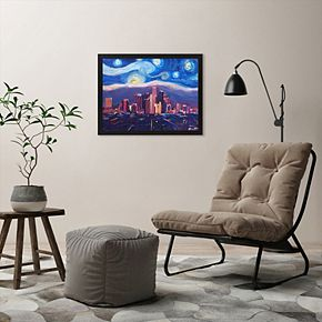 """Americanflat """"Starry Night In Los Angeles"""" Framed Wall Art"""