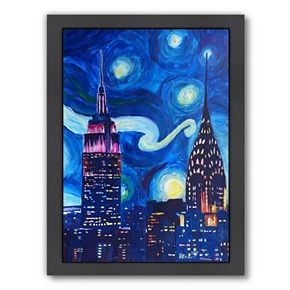 "Americanflat ""Starry Night In New York"" Framed Wall Art"