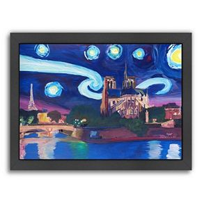 "Americanflat ""Starry Night In Paris"" Framed Wall Art"