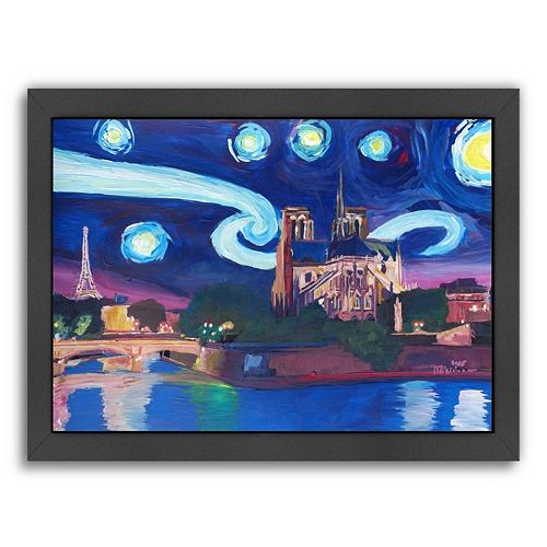 "Americanflat ""Starry Night In Paris"" Framed Wall Art"