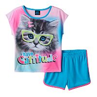 Girls 4-16 Jellifish Graphic Tee & Shorts Pajama Set