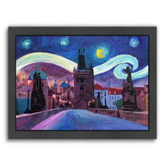 "Americanflat ""Starry Night In Prague"" Framed Wall Art"