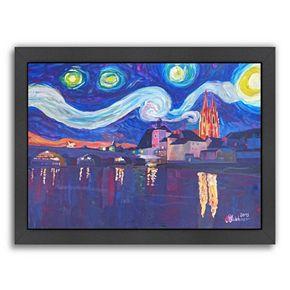 """Americanflat """"Starry Night In Regensburg"""" Framed Wall Art"""
