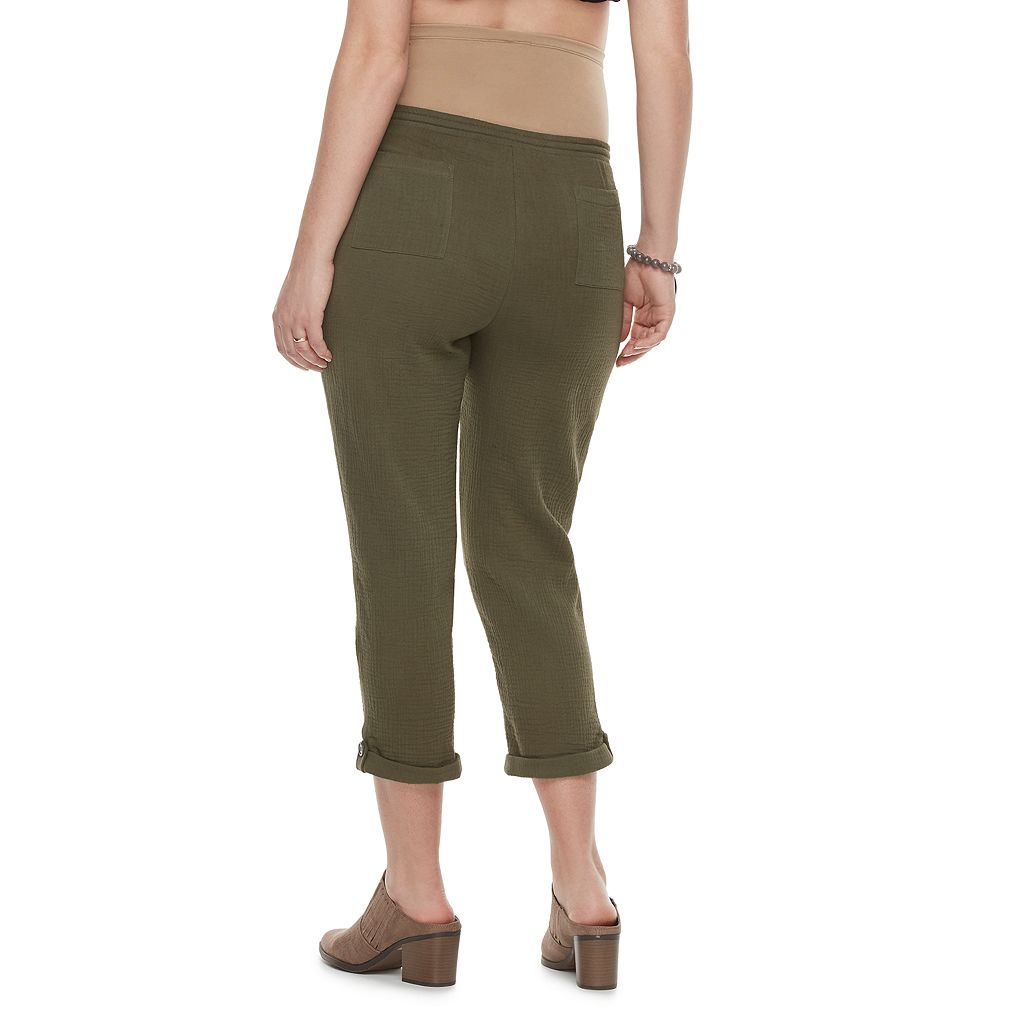 Maternity a:glow Belly Panel Textured Capris