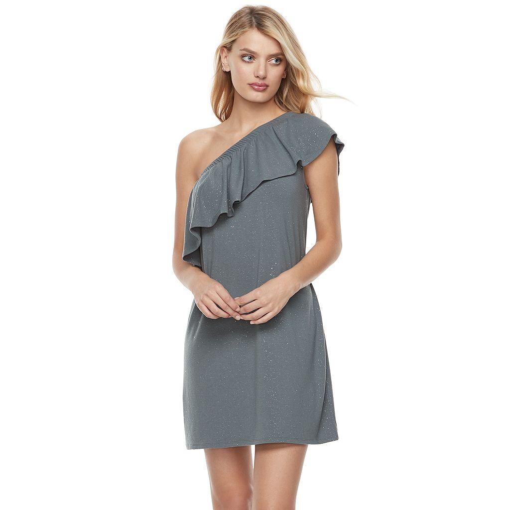 Women's Juicy Couture Glitter One-Shoulder Shift Dress