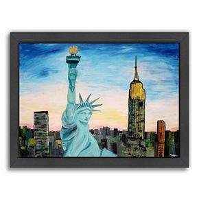 """Americanflat """"Statue of Liberty with View of New York"""" Framed Wall Art"""