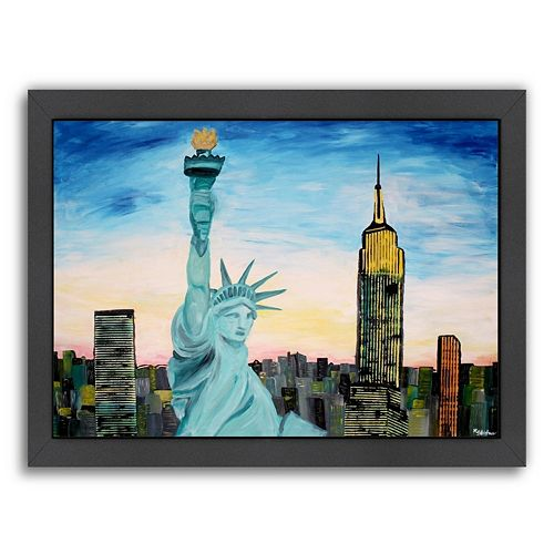 "Americanflat ""Statue of Liberty with View of New York"" Framed Wall Art"