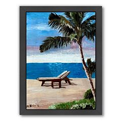 Americanflat 'Strand Chairs On Caribbean Beach Or' Framed Wall Art