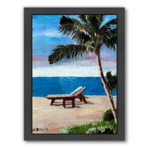 "Americanflat ""Strand Chairs On Caribbean Beach Or"" Framed Wall Art"