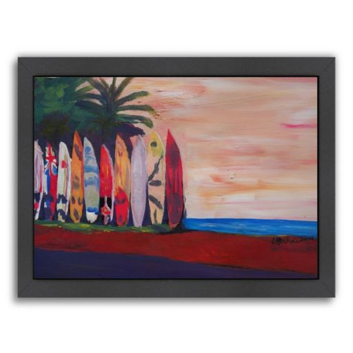 """Americanflat """"Surf Board Fence Wall At The Seaside"""" Framed Wall Art"""