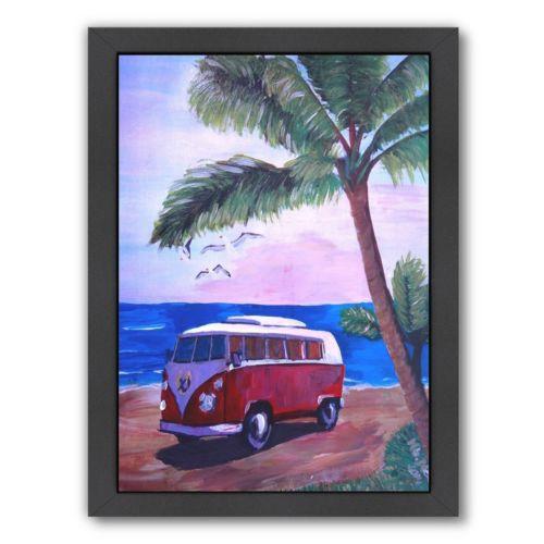 """Americanflat """"Surf Bus Under Palms At Dream Beach Spot"""" Framed Wall Art"""