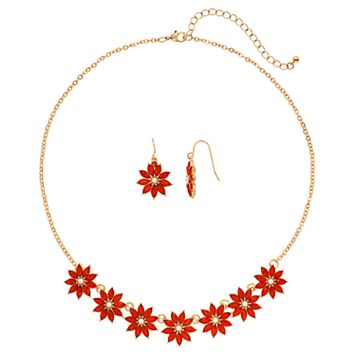 Orange Flower Necklace & Drop Earring Set