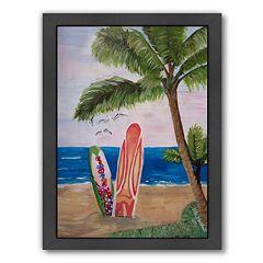 Americanflat 'Surfboards Beach' Framed Wall Art