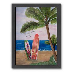 """Americanflat """"Surfboards Beach"""" Framed Wall Art"""