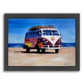 "Americanflat ""The Groovy Peace Surf Bus"" Framed Wall Art"