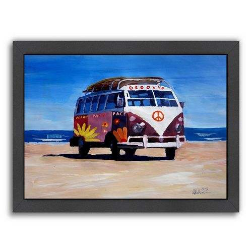 Americanflat The Groovy Peace Surf Bus Framed Wall Art