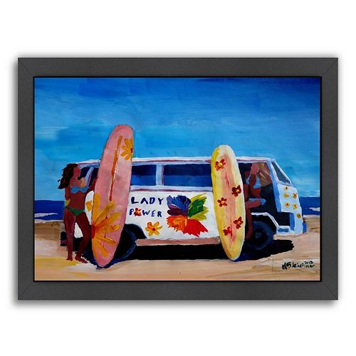 Americanflat The Lady Power Surf Bus Framed Wall Art