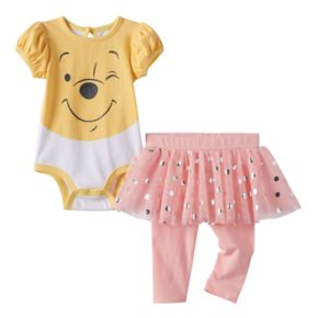 Disney's Winnie the Pooh Baby Girl Bodysuit, Polka-Dot Tulle Skirt & Leggings Set