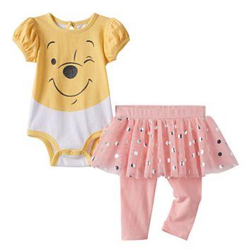 Disney's Winnie the Pooh Baby Girl Bodysuit, Polka-Dot Tulle Skirt & Leggings Set