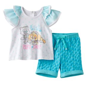 "Baby Girl Paw Patrol Skye & Everest ""Best Pups Ever"" Graphic Tee & Heart Shorts Set"
