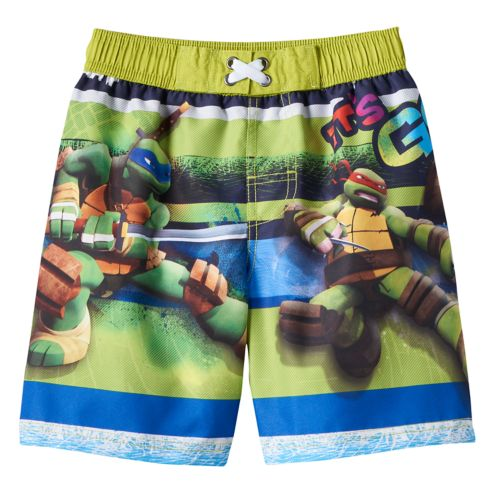 "Boys 4-7 Teenage Mutant Ninja Turtles Michaelangelo & Leonardo ""It's Go Time"" Boardshort Swim Trunks"