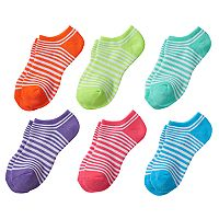 Girls 4-16 SO® 6 pkStriped No-Show Socks