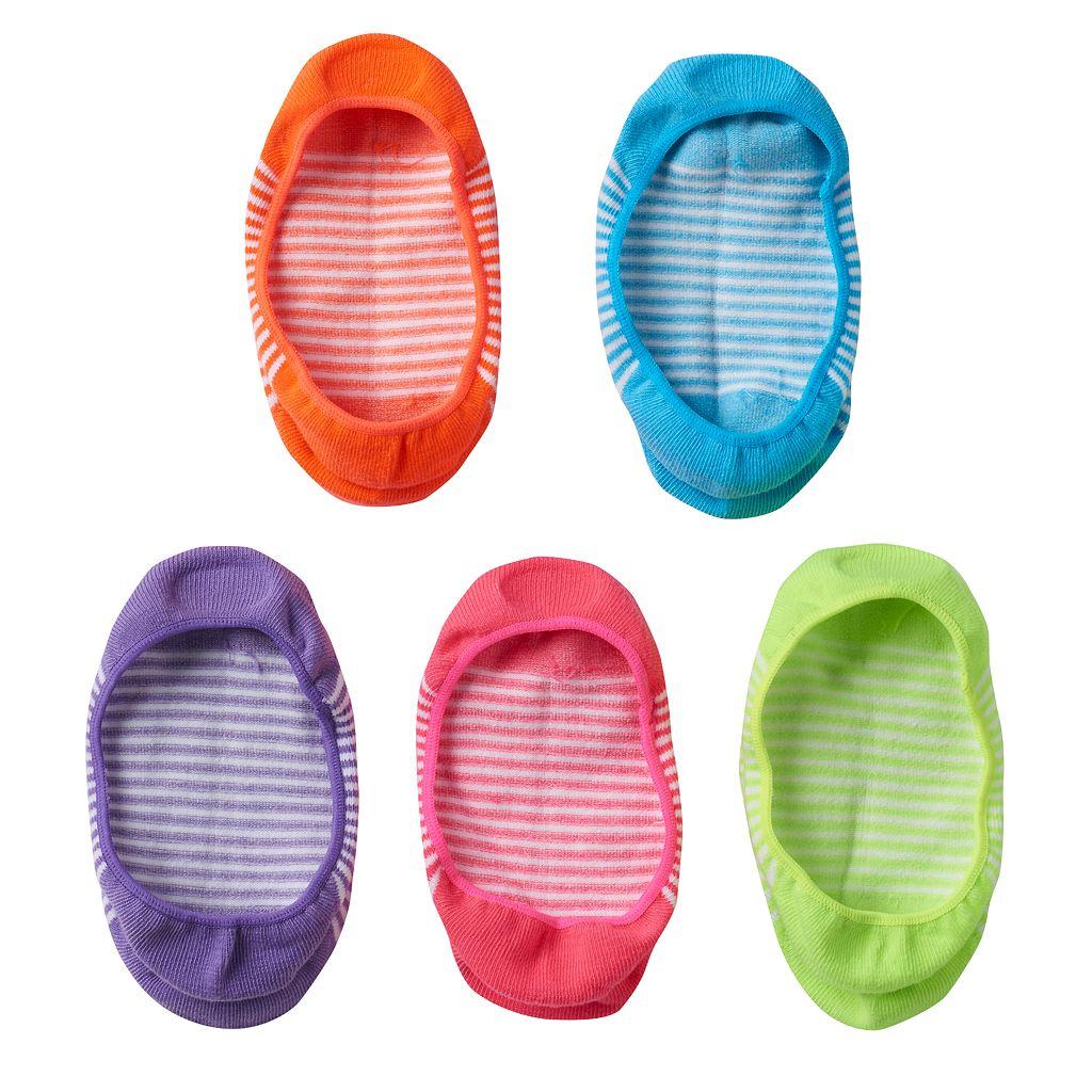 Girls 4-16 SO® 5-pk. Striped Liner Socks