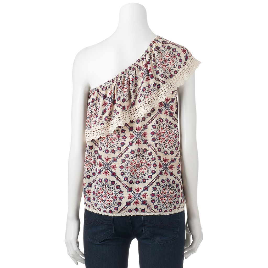 Juniors' Rewind Crochet One Shoulder Top
