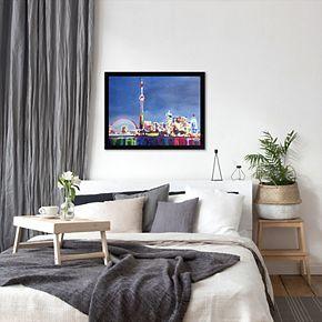 "Americanflat ""Toronto Neon Shimmering Skyline"" Framed Wall Art"