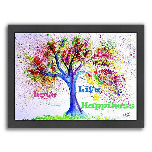 """Americanflat """"Tree Love Life Happiness"""" Framed Wall Art"""