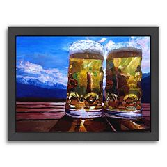 Americanflat 'Two Beers with Mountains  2' Framed Wall Art