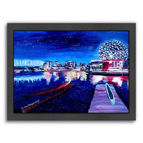 "Americanflat ""Vancouver Skyline At Starry Night"" Framed Wall Art"