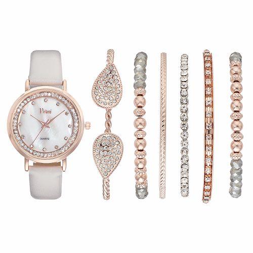 Vivani Women S Crystal Watch Bracelet Set