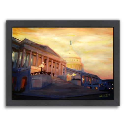 "Americanflat ""Washington Capitol 2 Golden"" Framed Wall Art"