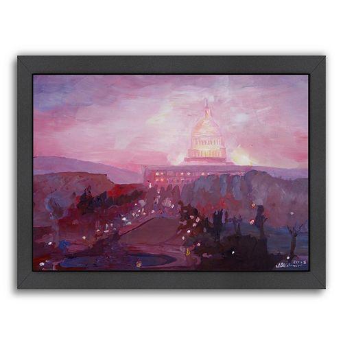 "Americanflat ""Washington Capitol 3 Dusk"" Framed Wall Art"