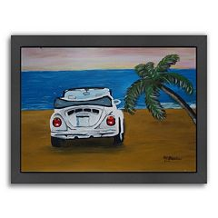 Americanflat 'White Beachbug With Palm' Framed Wall Art