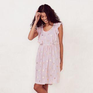 Women's LC Lauren Conrad Print Eyelet Babydoll Dress