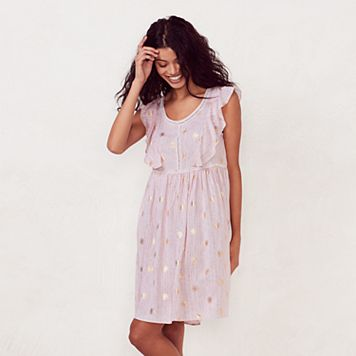 Women's LC Lauren Conrad Print Eyelet Babydoll Dress