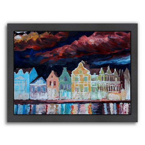 """Americanflat """"Willemstad Curacao At Night"""" Framed Wall Art"""