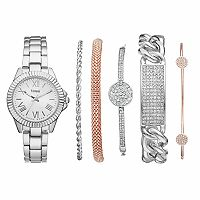 Vivani Women's Stainless Steel Watch & Crystal Bracelet Set
