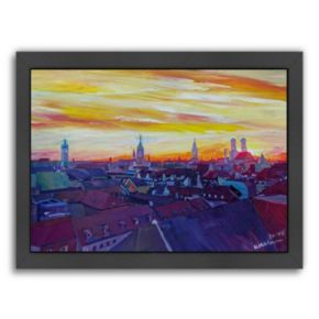 "Americanflat ""Munich Skyline With Burning Sky at Sunset"" Framed Wall Art"