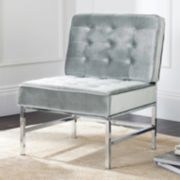 Safavieh Chrome Finish Tufted Accent Chair
